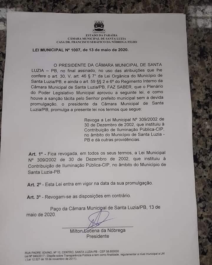 Câmara sanciona lei que extingue a taxa de iluminação pública de Santa Luzia