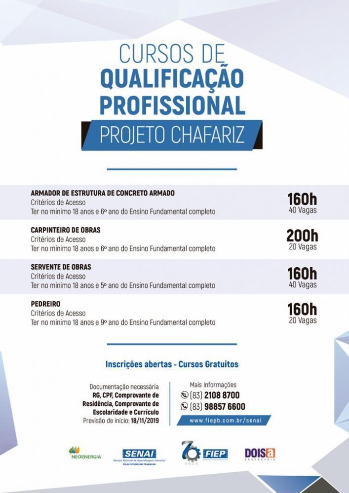 120 vagas para cursos profissionalizantes em São Mamede